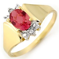1.04 CTW Pink Tourmaline & Diamond Ring 14K Yellow Gold - REF-23H6A - 11000