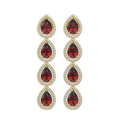 8.2 CTW Garnet & Diamond Halo Earrings 10K Yellow Gold - REF-135N3Y - 41185