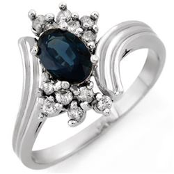1.0 CTW Blue Sapphire & Diamond Ring 18K White Gold - REF-43A8X - 10437