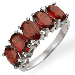 3.0 CTW Garnet Ring 10K White Gold - REF-16T2M - 10960