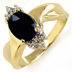 1.79 CTW Blue Sapphire & Diamond Ring 10K Yellow Gold - REF-19F6N - 10050