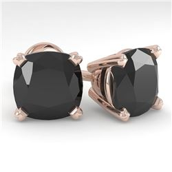 6 CTW Cushion Black Diamond Stud Designer Earrings 14K Rose Gold - REF-140H4A - 38391