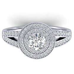 1.15 CTW Certified VS/SI Diamond Art Deco Halo Ring 14K White Gold - REF-147F3N - 30363