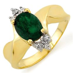 1.29 CTW Emerald & Diamond Ring 10K Yellow Gold - REF-18F4N - 10498