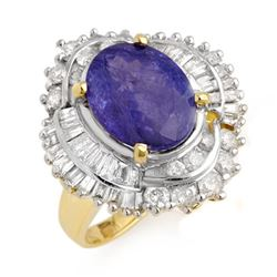 6.0 CTW Tanzanite & Diamond Ring 14K Yellow Gold - REF-267K5W - 13960