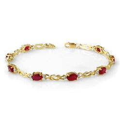 5.48 CTW Ruby & Diamond Bracelet 10K Yellow Gold - REF-34H5A - 14077