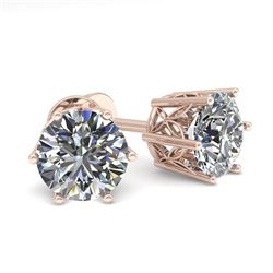 1.55 CTW Certified VS/SI Diamond Stud Solitaire Earrings 18K Rose Gold - REF-307X8T - 35840