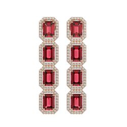 12.41 CTW Tourmaline & Diamond Halo Earrings 10K Rose Gold - REF-217F8N - 41445