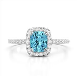 1.25 CTW Sky Blue Topaz & Micro Pave VS/SI Diamond Halo Ring 10K White Gold - REF-34A5X - 22912