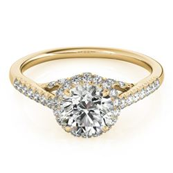 1.5 CTW Certified VS/SI Diamond Solitaire Halo Ring 18K Yellow Gold - REF-392F2N - 26993