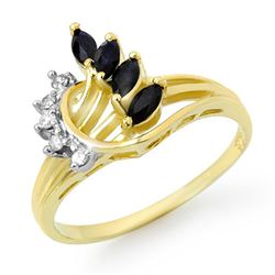 0.55 CTW Blue Sapphire & Diamond Ring 10K Yellow Gold - REF-20X2T - 12868