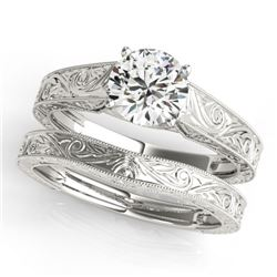 1 CTW Certified VS/SI Diamond Solitaire 2Pc Wedding Set 14K White Gold - REF-364W2F - 31868
