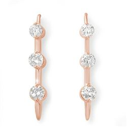1.0 CTW Certified VS/SI Diamond Solitaire Stud Earrings 14K Rose Gold - REF-116M2H - 12822