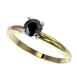 0.50 CTW Fancy Black VS Diamond Solitaire Engagement Ring 10K Yellow Gold - REF-23X3T - 32860