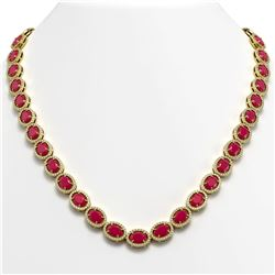 52.15 CTW Ruby & Diamond Halo Necklace 10K Yellow Gold - REF-655A3X - 40558