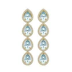 7.81 CTW Sky Topaz & Diamond Halo Earrings 10K Yellow Gold - REF-134K9W - 41170