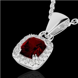 1.25 CTW Garnet & Micro Pave VS/SI Diamond Halo Necklace 10K White Gold - REF-27T3M - 22883