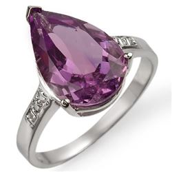 4.10 CTW Amethyst & Diamond Ring 10K White Gold - REF-23W3F - 11520