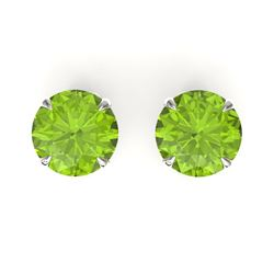 4 CTW Peridot Designer Inspired Solitaire Stud Earrings 18K White Gold - REF-32K2W - 21833