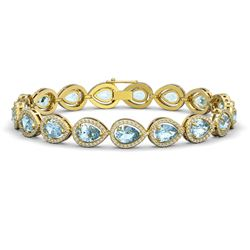 15.74 CTW Aquamarine & Diamond Halo Bracelet 10K Yellow Gold - REF-345N5Y - 41116