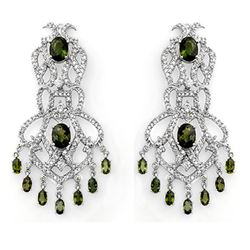 17.30 CTW Green Tourmaline & Diamond Earrings 18K White Gold - REF-533K8W - 11172