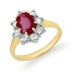 2.50 CTW Ruby & Diamond Ring 14K Yellow Gold - REF-70H9A - 13194