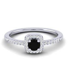 0.55 CTW Micro Pave VS/SI Diamond Ring Designer Halo 18K White Gold - REF-32A2X - 21370