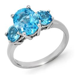 3.25 CTW Blue Topaz Ring 10K White Gold - REF-22M2H - 13341