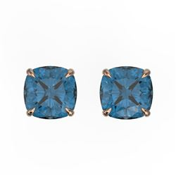 3 CTW Cushion Cut London Blue Topaz Designer Stud Earrings 14K Rose Gold - REF-17T3M - 21748