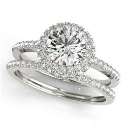 1.25 CTW Certified VS/SI Diamond 2Pc Wedding Set Solitaire Halo 14K White Gold - REF-204W2F - 30924