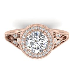 2.2 CTW Certified VS/SI Diamond Art Deco Micro Halo Ring 14K Rose Gold - REF-681F6N - 30526