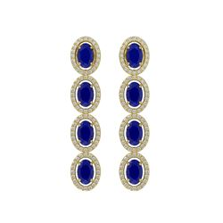 6.47 CTW Sapphire & Diamond Halo Earrings 10K Yellow Gold - REF-109Y5K - 40510