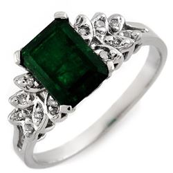 2.12 CTW Emerald & Diamond Ring 10K White Gold - REF-20N8Y - 11227
