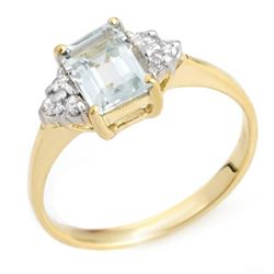 1.22 CTW Aquamarine & Diamond Ring 18K Yellow Gold - REF-31H3A - 10040