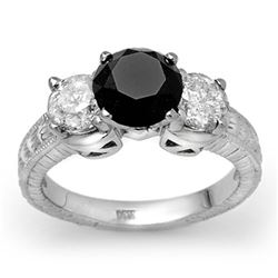 3.80 CTW VS Certified Black & White Diamond Ring 14K White Gold - REF-357M3H - 11933