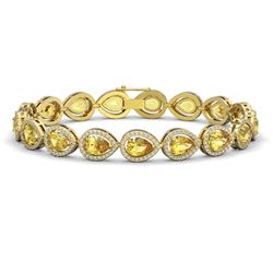 15.91 CTW Fancy Citrine & Diamond Halo Bracelet 10K Yellow Gold - REF-276N2Y - 41134