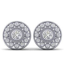 1.11 CTW Certified VS/SI Diamond Art Deco Stud Earrings 14K White Gold - REF-134A5X - 30465