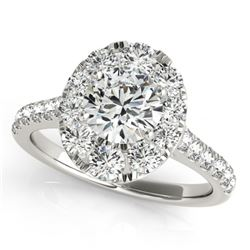 2 CTW Certified VS/SI Diamond Solitaire Halo Ring 18K White Gold - REF-424X2T - 26799