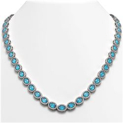 33.25 CTW Swiss Topaz & Diamond Halo Necklace 10K White Gold - REF-506N4Y - 40433