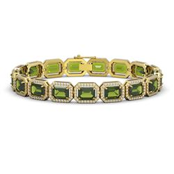26.38 CTW Tourmaline & Diamond Halo Bracelet 10K Yellow Gold - REF-411Y3K - 41401