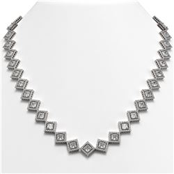 31.92 CTW Princess Cut Diamond Designer Necklace 18K White Gold - REF-5920T2M - 42848