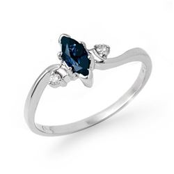 0.42 CTW Blue Sapphire & Diamond Ring 10K White Gold - REF-13N3Y - 13189