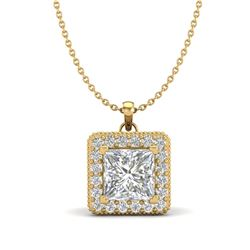 1.93 CTW Princess VS/SI Diamond Solitaire Micro Pave Necklace 18K Yellow Gold - REF-436N4Y - 37174