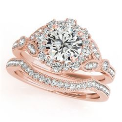 1.44 CTW Certified VS/SI Diamond 2Pc Wedding Set Solitaire Halo 14K Rose Gold - REF-225X5T - 30964