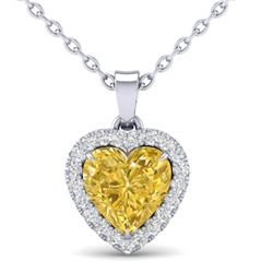 1 CTW Citrine & Micro Pave VS/SI Diamond Heart Necklace Halo 14K White Gold - REF-28F4N - 21336