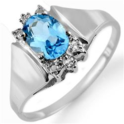 1.23 CTW Blue Topaz & Diamond Ring 10K White Gold - REF-15K3W - 10545