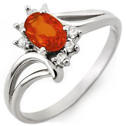 0.70 CTW Orange Sapphire & Diamond Ring 10K White Gold - REF-18N2Y - 10610