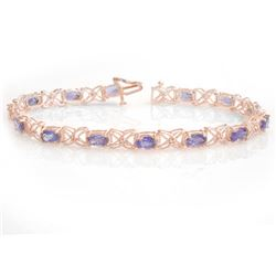8.65 CTW Tanzanite & Diamond Bracelet 18K Rose Gold - REF-153H3A - 13907