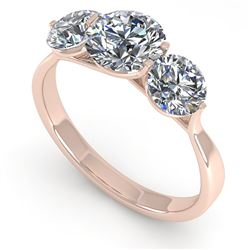 2 CTW Past Present Future Certified VS/SI Diamond Ring Martini 14K Rose Gold - REF-390W9F - 38346
