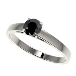 0.50 CTW Fancy Black VS Diamond Solitaire Engagement Ring 10K White Gold - REF-19X3T - 32955